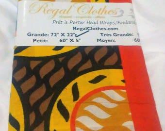 Orange Melon Color Block Ankara Tribal Print Head Wrap Gift Idea Mom Women Turban Fashion  Holiday Fashion Scarf Mothers Day Gift For Mom