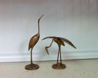 Set of Large Mid Century Brass Cranes
