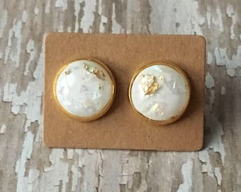 White gold flake opal studs