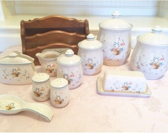 Japanese Goose Stoneware Canisters Set, Butter Dish Napkin Holder Creamer Salt And Pepper Shakers And Spatula Holder Organizer