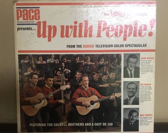 Vintage 1960s record album, Up with People vinyl record album, classic folk songs, 1960s record, vintage decor