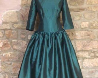 1950 silk or taffeta swing dress, Custom made (price varies)