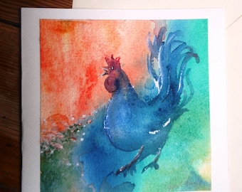 "watercolor art ""Wake up Call"" original fine art  painting mounted  on a card, Lovely card gift - suitable for framing"