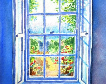 "Garden art ""Window to the Garden Path"" Original Watercolour painting, window seat, Sunshine, Georgian sash window, wooden shutters"