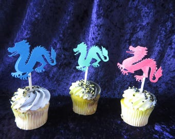 12 neon dragon cupcake topper - dragon birthday toppers - birthdays, child's party