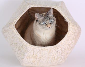 Neutral ivory and tan cotton batik fabric cat bed - the Cat Ball hexagonal cat bed design