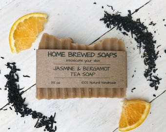 Tea Soap, Jasmine Bergamot Soap, Gift for Her, Gift for Women, Homemade Soap, All natural Soap, Artisan Soap, Gifts under 20, natural Soap