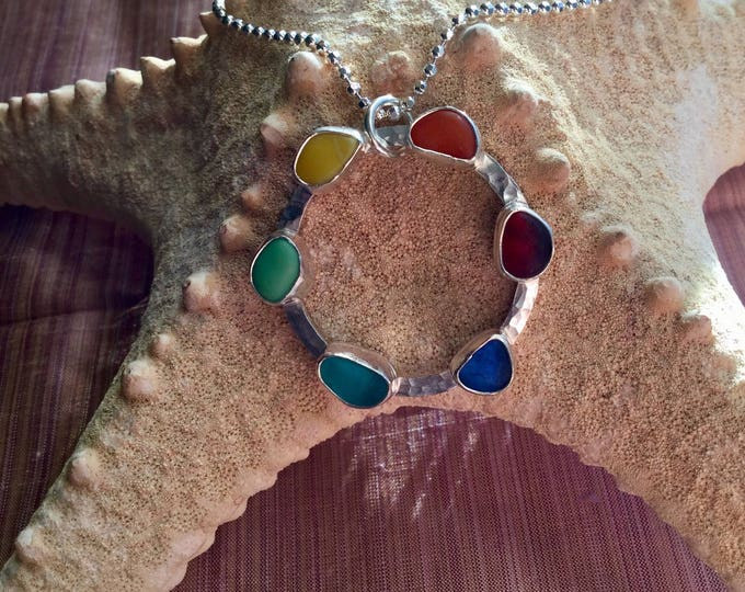 Circle of Rainbow Seaglass Statement Necklace