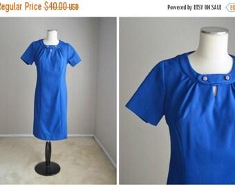 Summer SALE - 20% off - vintage 50s 60s royal blue shift dress -- womens medium- 38-34-44