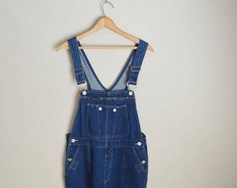 Summer SALE - 20% off - vintage dark wash squeeze denim overall dungarees -- womens small-- oversized