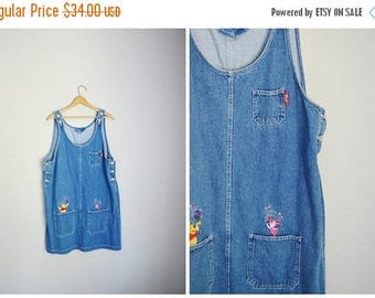 Summer SALE - 20% off - vintage denim jean overall dress-- winnie the pooh-- womens large xlarge