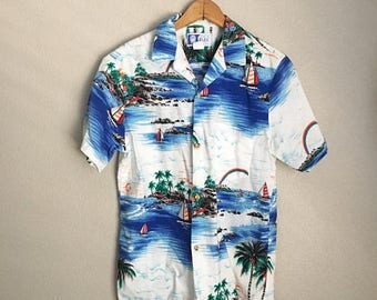 Summer SALE - 20% off - vintage RJC Hawaiian rainbow blue ocean tropical reef sailboat luau Hawaii made shirt -- mens small