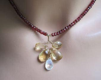 Wire Wrapped Garnet , Citrine and Moonstone Pendant Necklace