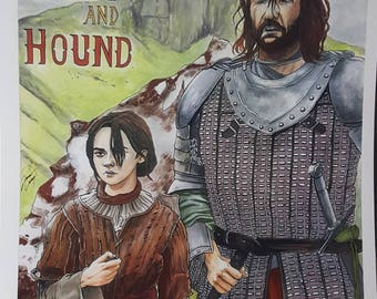 Lone Wolf and Hound (Arya Stark and Sandor Clegane) Game of Thrones- Print