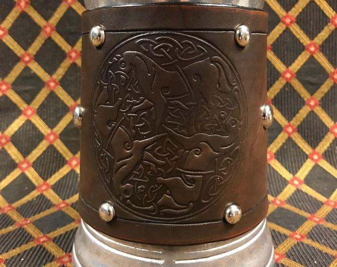 Leather Metal 36 oz tankard beer ale Scottish Irish celtic horses goddess Epona horse