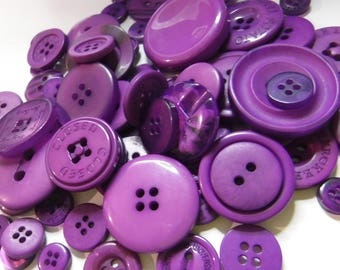 Grape Purple Buttons, 100 Bulk Assorted Round Multi Size Crafting Sewing Buttons