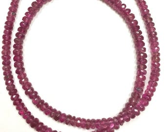Pink Tourmaline Faceted Rondelles - Graduated 3-4mm