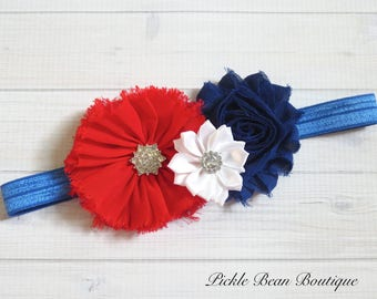 4th of July Headband, Fourth of July Baby Girls Headband, Red White Blue Headband, Infant Headband, Patriotic Flower Head Band