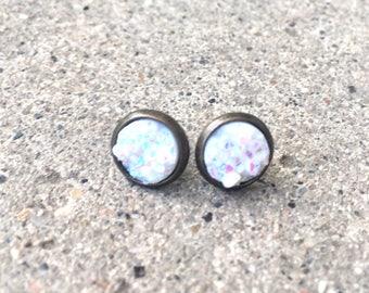 Opal faux druzy studs in bronze setting 8mm