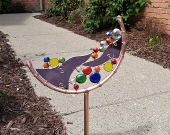 Stained glass copper abstract Crescent garden art stake one of a kind patio yard art