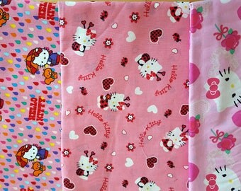 Hello Kitty Remnant Bundle cotton fabric by Davids Textiles - 3 pieces - yardage amounts in description