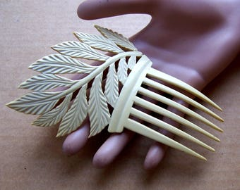 French ivory hair comb Art Deco asymmetric leaf design hair accessory headdress headpiece decorative comb hair ornament