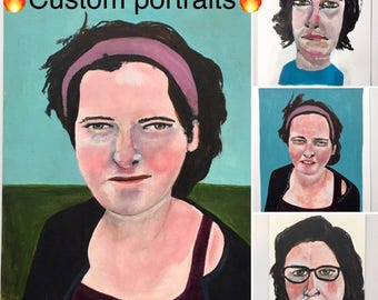 Custom portrait painting // original art // illustration on paper // 11 x 14