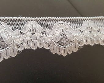 """Black / White Stretch Lace trim 1 1/4"""" very soft great for Lingerie"""