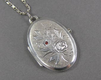 Vintage Sterling Locket, Flower and Red Rhinestone, Romantic, Rose, Memento Locket, 50's, Feminine, Mid Century, Large Locket, Gift for Her