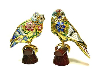 Cloisonne Enamel Owls on Perches - Set of 2 Vintage Birds Figurines Colorful Jeweled Collectible Home Decor