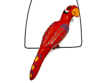Bird on a Perch - Hanging Red Ceramic Parrot on Wire Ceiling Hanger  - Hand Painted Pottery Wall Garden Patio Decor