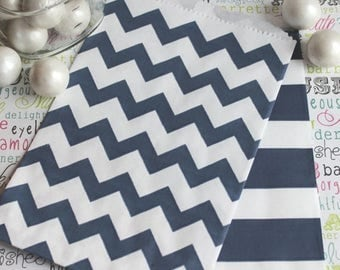GLAM SALE 50 Navy Blue Chevron and Rugby Stripe Candy Bags,  Navy Wedding Favor Bags, Navy Favor Bags, Navy Popcorn Bags, Navy Blue Stripe C