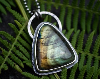 Labradorite Necklace, Labradorite Pendant, Green Labradorite, Rustic Necklace, Triangle Gemstone