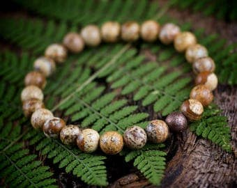 Picture jasper gemstone bead stretch bracelet unisex
