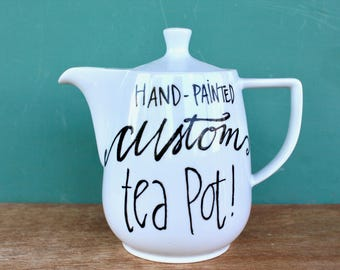 Custom, Hand-Painted Tea Pot - Ceramic, Made-to-Order - You choose the design, quote, and complexity - Painted by hand in Tulsa, Oklahoma