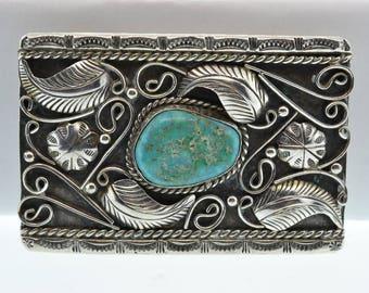 Sterling Navajo M. Ashley Turquoise Belt Buckle