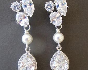 Wedding Earrings, Bridal Earrings, Chandelier Earrings, Cubic Zirconia Bridal Earrings, Pearl Earrings, Stud Earrings, Dangle Earrings