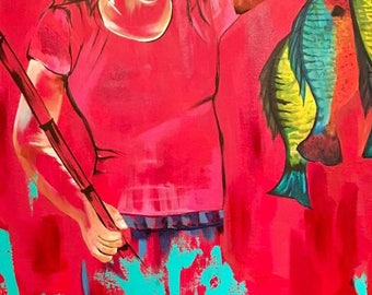 Summer Catch - girl fishing painting