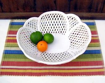 Vintage Woven Pottery Bowl White Open Weave Ceramic Basket Large Oval Porcelain Dish Portugal Serving Dish