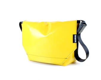 Large Messenger Bag made from Recycled Truck Tarp, Man Bag, Satchel Style Bag, MacBook Bag (61.01)