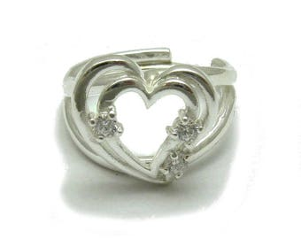 Sterling silver ring solid 925 heart with 3 CZ pendant