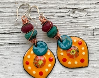Elysian Park, artisan enameled copper earrings