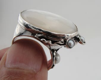 Hadar Jewelry 925 Silver Mother of pearl stone, Oval Stone ring, Free Shipping, Gift, Israeli Jewelry size 8 (can br resized  (102b)