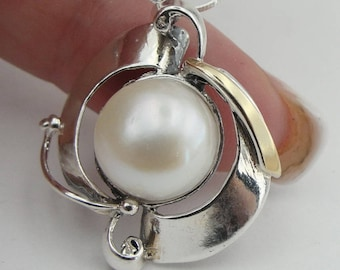 Great handcrafted Sterling Silverang gold 9K long Pearl Pendant, Pearl  Pendant, Round Pearl Earrings, Wedding Earrings ,gift (ms 345p)