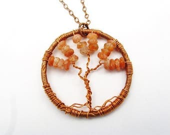 Copper, Sunstone Tree of Life Pendant
