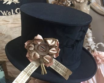 Someone Didn't Handle With Care Tattered Worn Black Fabric Top Hat
