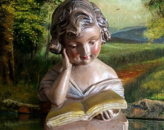 She Enjoyed A Good Book Antique Chalkware Statue Of A Girl Reading