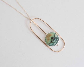 Candelaria Variscite + Moissanite Accent Geometric Necklace | 14k Gold Fill + Sterling Silver | One of a Kind