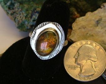 Bright Orange, Green and Yellow to Copper Fire Gem Ammolite Found in Utah Deposit, .925 Sterling Silver Size 9 Ring  693