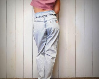 34% Off Sale - Acid Wash Jeans - Jordache 1980s Fold Over High Waist Mom Jeans - Pleated Tapered Leg Stone Wash Denim Jeans - Extra Small XS